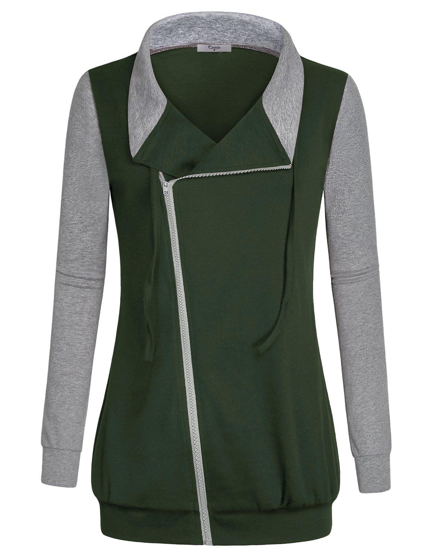 Cestyle Side Zipper Sweatshirt, Women's Business Casual Going Out Tops Cotton-Blend Full Zip Thin Jackets Dark Green X-Large