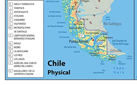 Chile Physical Map Paper Laminated A1 Size 594 x 841 cm