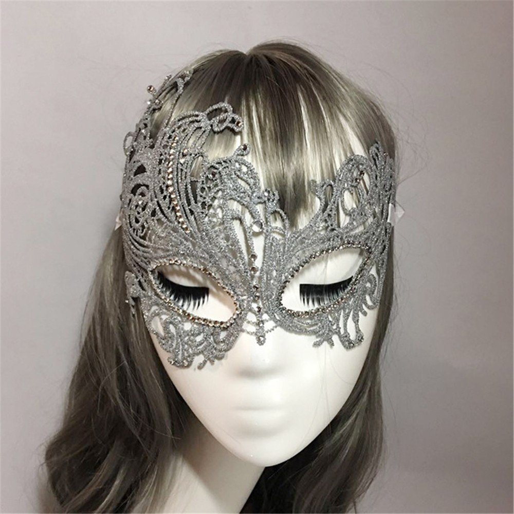 Face mask Shield Veil Guard Screen Domino False Front Halloween mask Dance Party Stereotype Lace Diamond Gold and Silver Phoenix mask Sexy Princess Half face Silver by PromMask (Image #4)