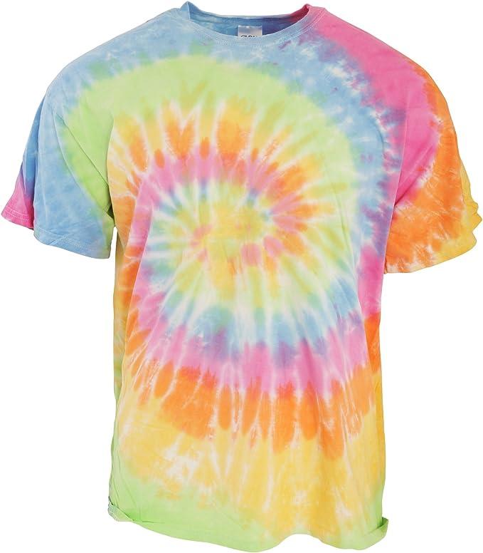 TDUK - Camiseta psicodélica Modelo arcoíris de Manga Corta para Hombre 100% Algodón- Verano Hippie (Pequeña (S)/Aeriel): Amazon.es: Ropa y accesorios