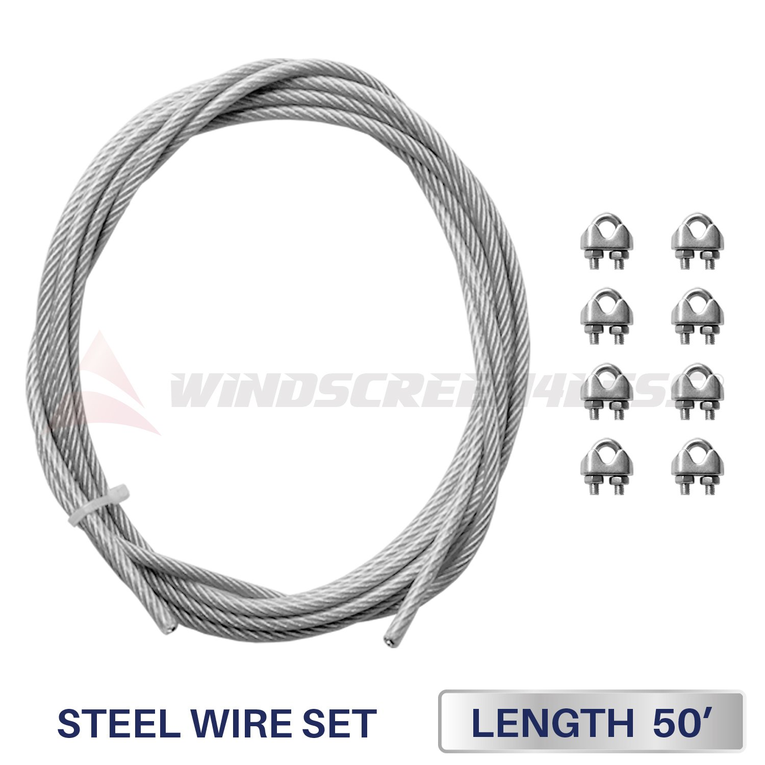 Windscreen4less Shade Sail Wire Rope and 8 Pcs Clips, Vinyl Coated Wire Cable Galvanized Metal Clamp, 3/16-Inch x 50 Feet