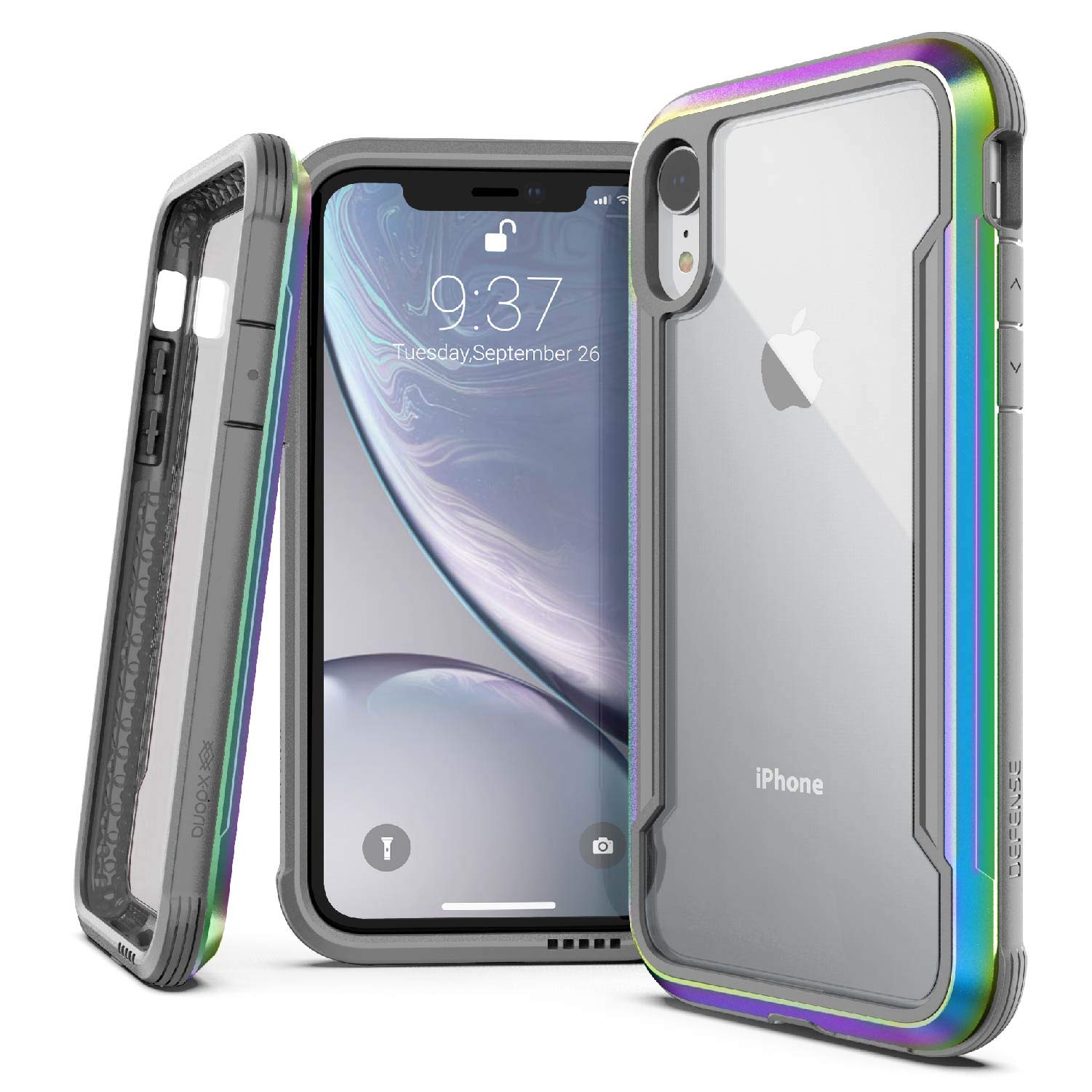 X-Doria Defense Shield Series, iPhone XR Case - Military Grade Drop Tested, Anodized Aluminum, TPU, and Polycarbonate Protective Case for Apple iPhone XR, 6.1 Inch LCD Screen (Iridescent) by X-Doria
