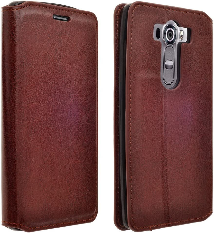 LG G VISTA 2 Case - Magnetic Leather Folio Flip Book Wallet Pouch Case Cover With Fold Up Kickstand For LG G VISTA 2 - Brown Slim Flip Case