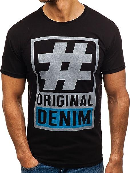 BOLF Hombre Camiseta De Manga Corta Escote Redondo Estampada 3C3 Motivo Ddo70