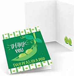 Double the Fun - Twins Two Peas in a Pod - Baby Shower or First Birthday Party Thank You Cards (8 count)
