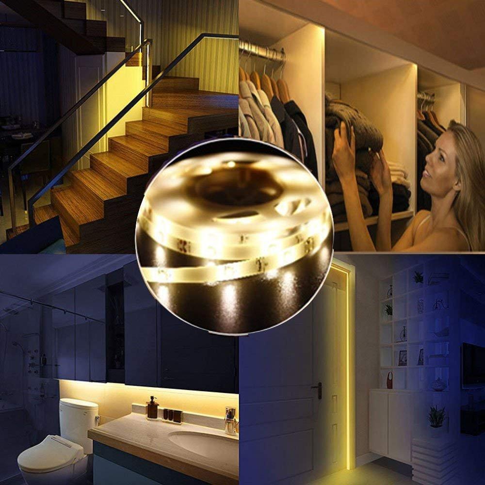 OriFiil 45LED 150cm Tiras LED, Luz Armario Luces LED Nocturna con Sensor de Movimiento para Pasillo Baño Cocina Escalera (funciona con 4 pilas AAA, No Incluidas) (150cm)