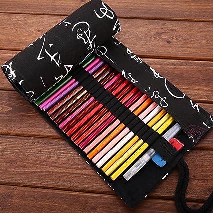 XYTMY - Estuche para lápices, bolígrafos, gomas, sacapuntas, rotuladores o agujas de ganchillo, tela, hecho a mano, enrollable, color 72 Holes, Chinese Calligraphy: Amazon.es: Oficina y papelería
