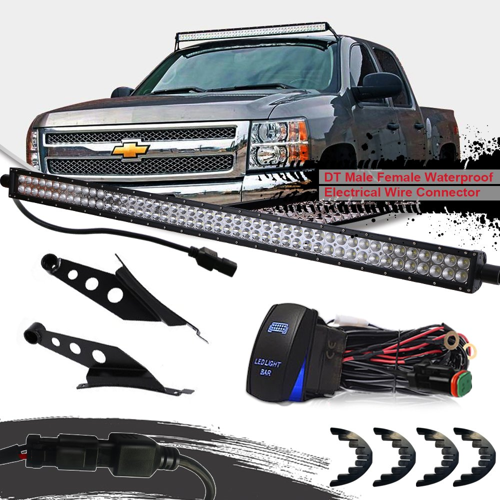 Turbosii Dot 54 Inch Curved Led Light Bar W Roof 1942 Chevy Wiring Windshield Mount Brackets Rocker Swich Dt For Silverado 1500 2500 3500