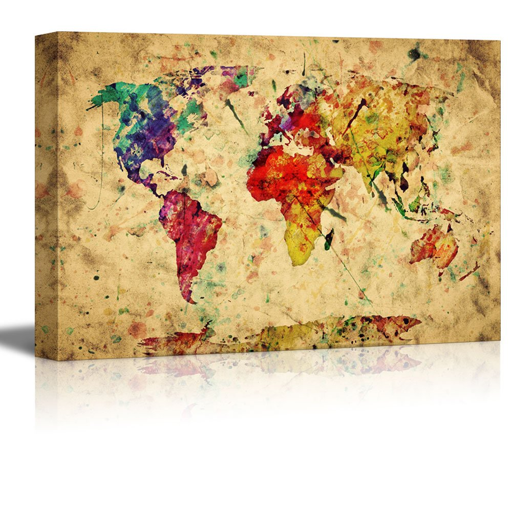 Vintage World Map Colorful Paint Watercolor Retro Style Expression ...