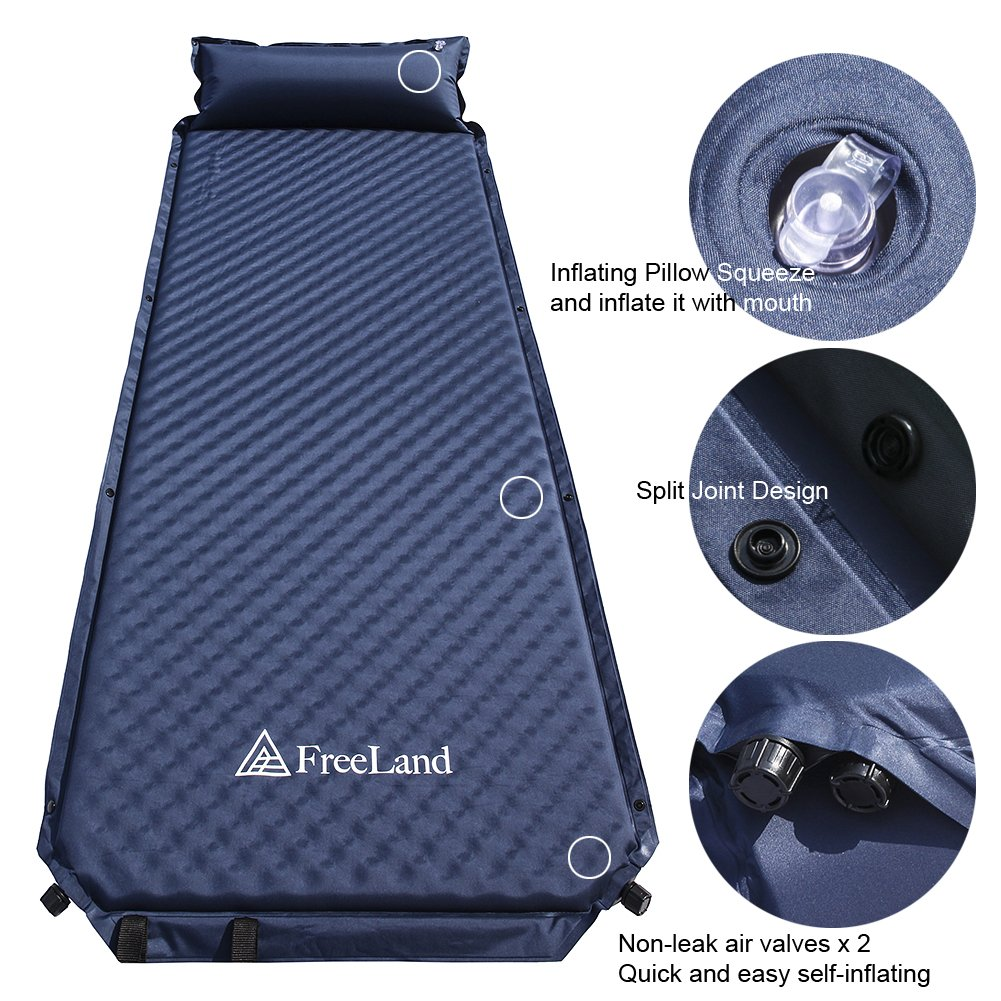 Amazon.com : Freeland Camping Self Inflating Sleeping Pad with Attached  Pillow Lightweight Air Sleeping Mattress - Dark Navy Blue Color : Sports &  Outdoors