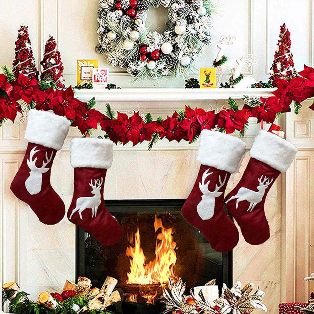 Christmas Stocking 2pcs Large Size Christmas Stockings Bulk Reindeer Xmas Stockings For Kids Goodie Bags Xmas
