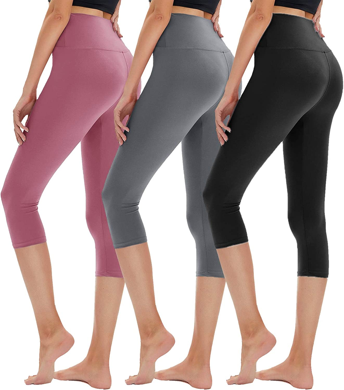 TNNZEET 3 Pack High Waisted Capri Leggings for Women - Buttery Soft Workout Running Yoga Pants
