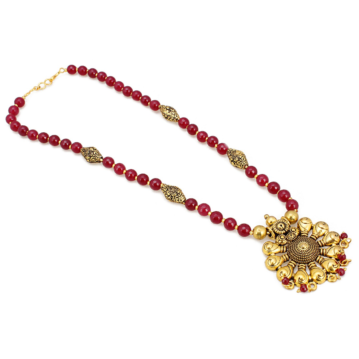 Aradhya Womens Designer German Silver And Purple Stone Beads Necklace