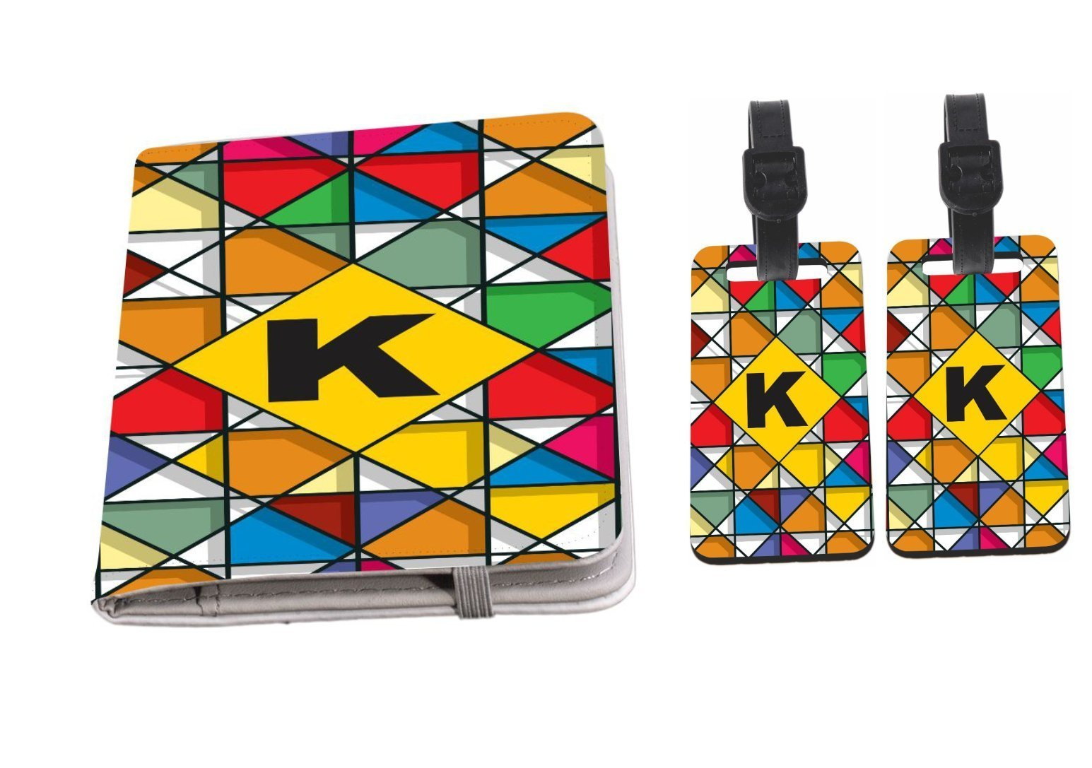 Rikki Knight Letter K Monogram Vibrant Colors Stained Glass Design Passport Holder with slots for Travel documents with 2 matching (1-sided) Luggage Identifier Tags