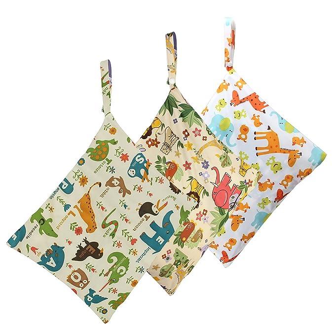 Biubee - Bolsa para pañales impermeable y lavable con dos bolsillos con cremallera para pañales secos y húmedos (Pack de 2) pack of 3: Amazon.es: Bebé