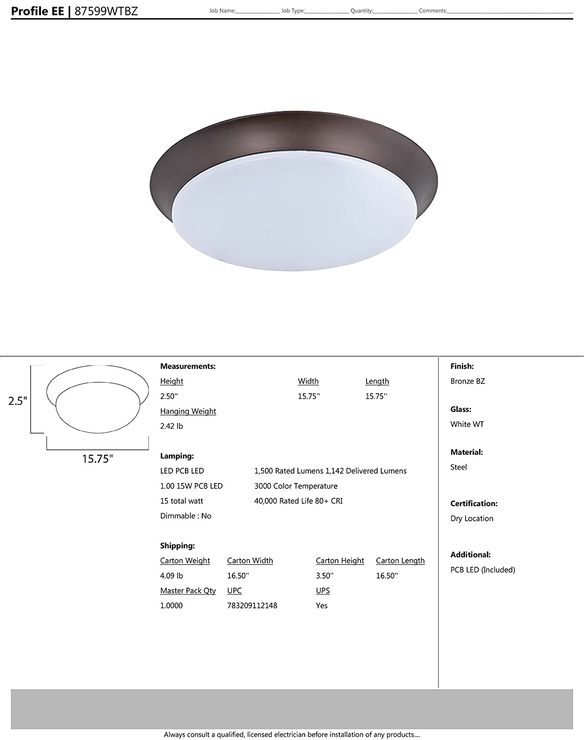PCB LED Bulb Standard Dimmable Damp Safety Rating White Glass Maxim 87599WTSN Profile EE LED Flush Mount Satin Nickel Finish 100W Max. Shade Material 9200 Rated Lumens