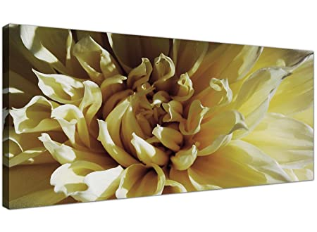 Modern Cream and Brown Canvas Prints of a Chrysanthemum Flower ...