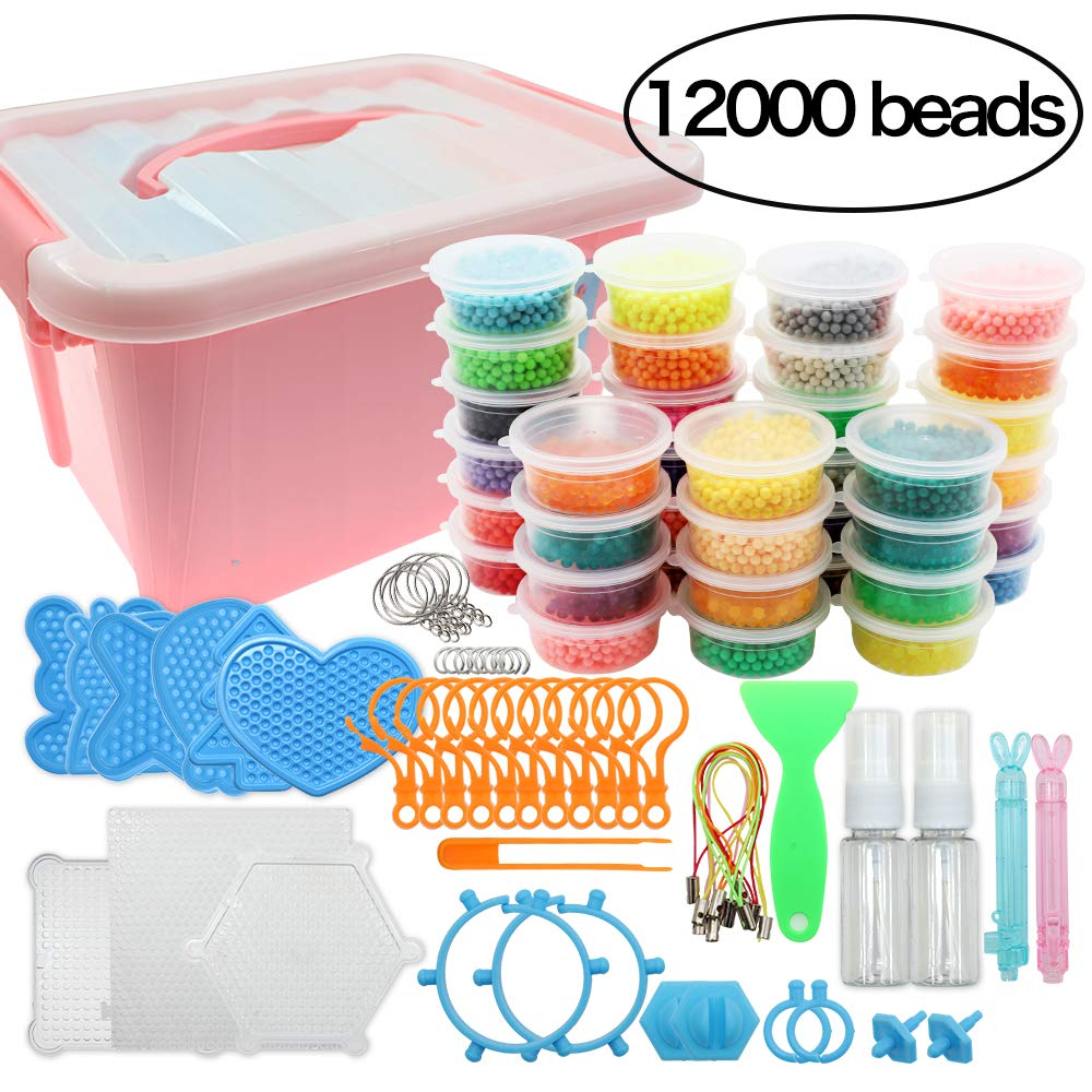 Beads Toy Water Fuse Beads Kit 12000 Pieces Magic Water Sticky Beads 36 Colors Water Spray Beads Set with 2pcs Mini Spray Bottles