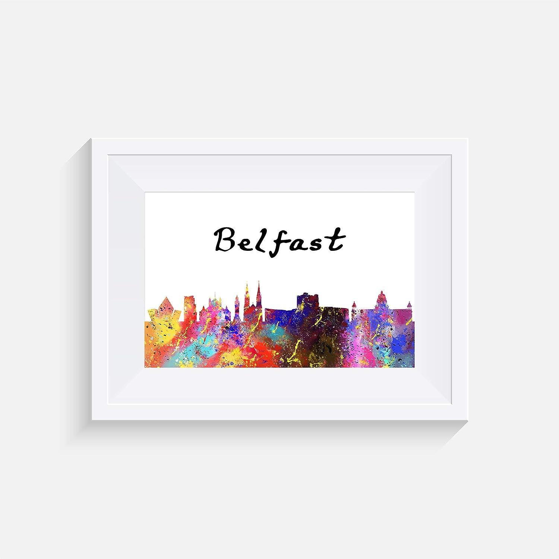 Belfast Inspir/é Paysage urbain Cadre non inclus mur art aquarelle divers Tailles Affiche impression