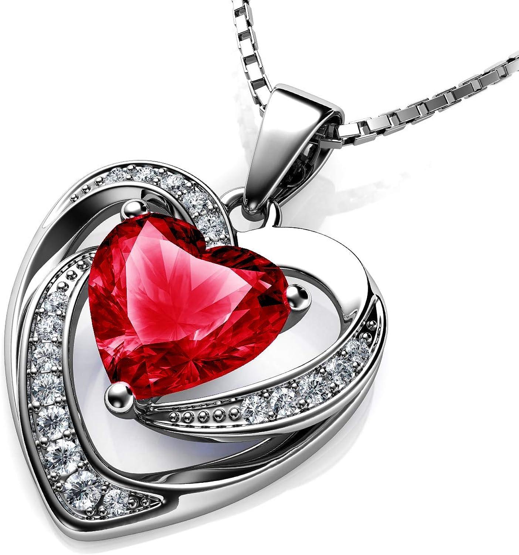 DEPHINI - Collar de corazón rojo - Plata de ley 925 - Piedra de nacimiento de Siam claro adornado con colgante de cristal Dephini - Collar de mujer de joyería fina chapado en rodio cadena de plata