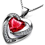 DEPHINI - Red Heart Necklace - 925 Sterling Silver - Light Siam Birthstone Embellished with Branded Crystal Pendant - Fine Je