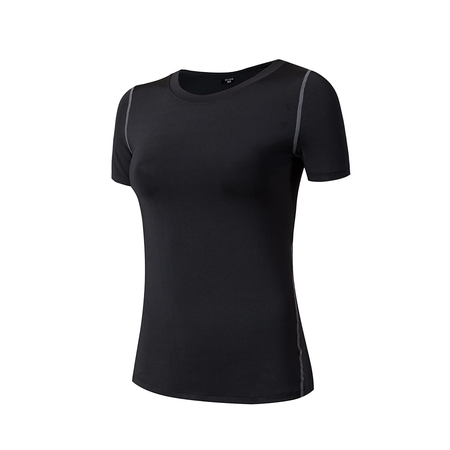 Barrageon Women's Elastic Compression Shirt T-shirt Top Base Layer Exercise Fitness Cross Training Running Gym Yoga Pilates Jogging Short Sleeve Quick Dry Suppresses Sweat Skin Fit Crewneck Thermal Sweatshirt Workout
