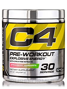 Cellucor C4 Pre Workout Supplements with Creatine, Nitric Oxide, Beta Alanine and Energy, 30 Servings, Strawberry Margarita 195g (6.87OZ)
