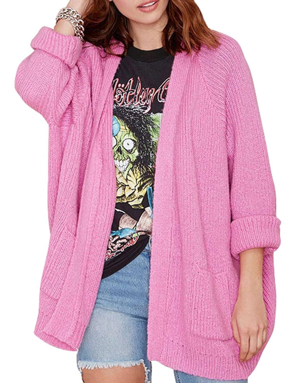 Difyou Women's Boyfriend Open Front Knitted Knitwear Sweater Cardigan