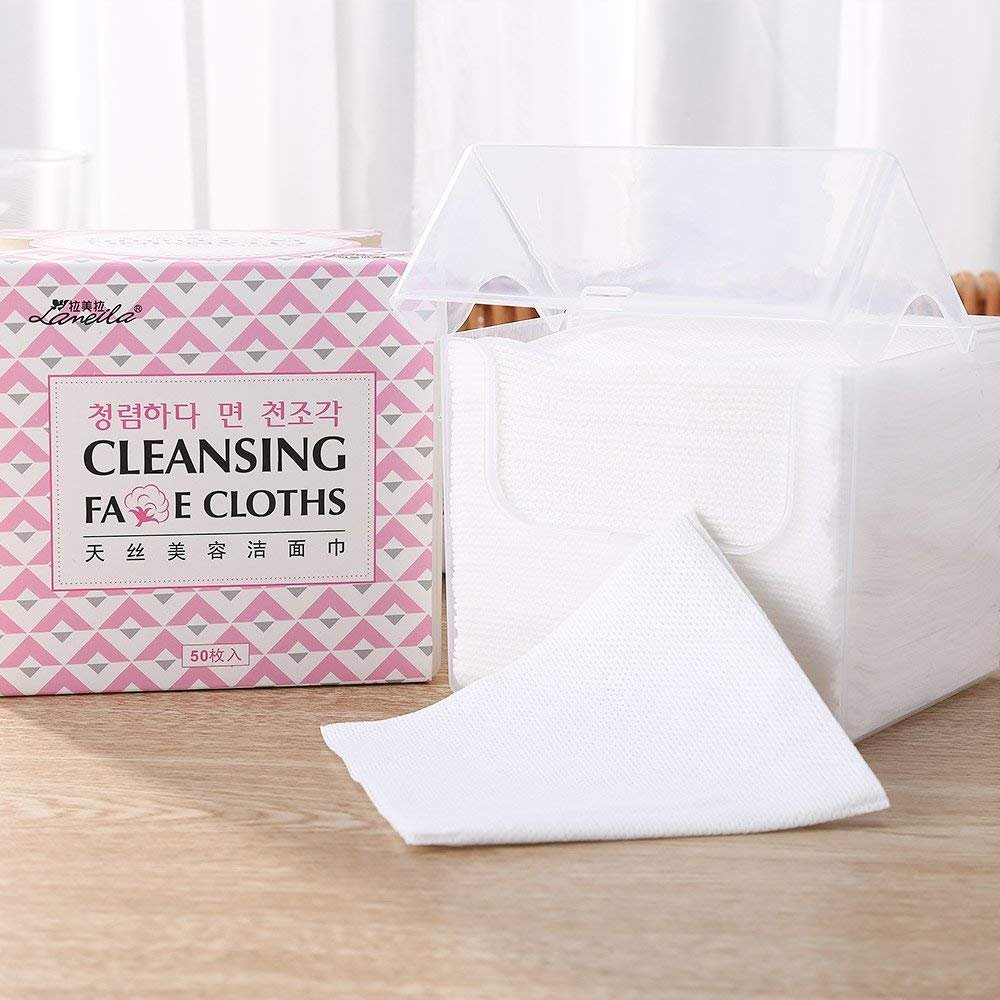 Lameila 50Pcs Lint Free Cotton Pads Tissues Large 20 x 18.3 cm for Face Eye Makeup Cleaning Remover