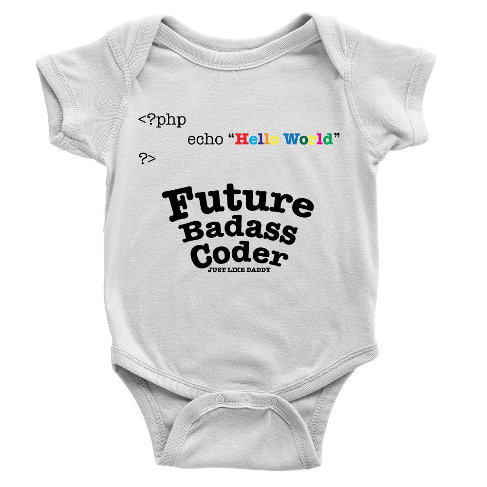 8a686517 Future Badass Coder Babygrow Coder PHP Developer Funny Daddy Present Boy  Gift: Amazon.co.uk: Clothing