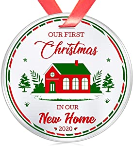 Elegant Chef New Home Ornament- Our First Christmas in Our New Home 2020 Ornament- Housewarming Bridal Shower Wedding Gifts- 1st time Homeowner Real Estate Closing Gift- 3 inch Flat Stainless Steel