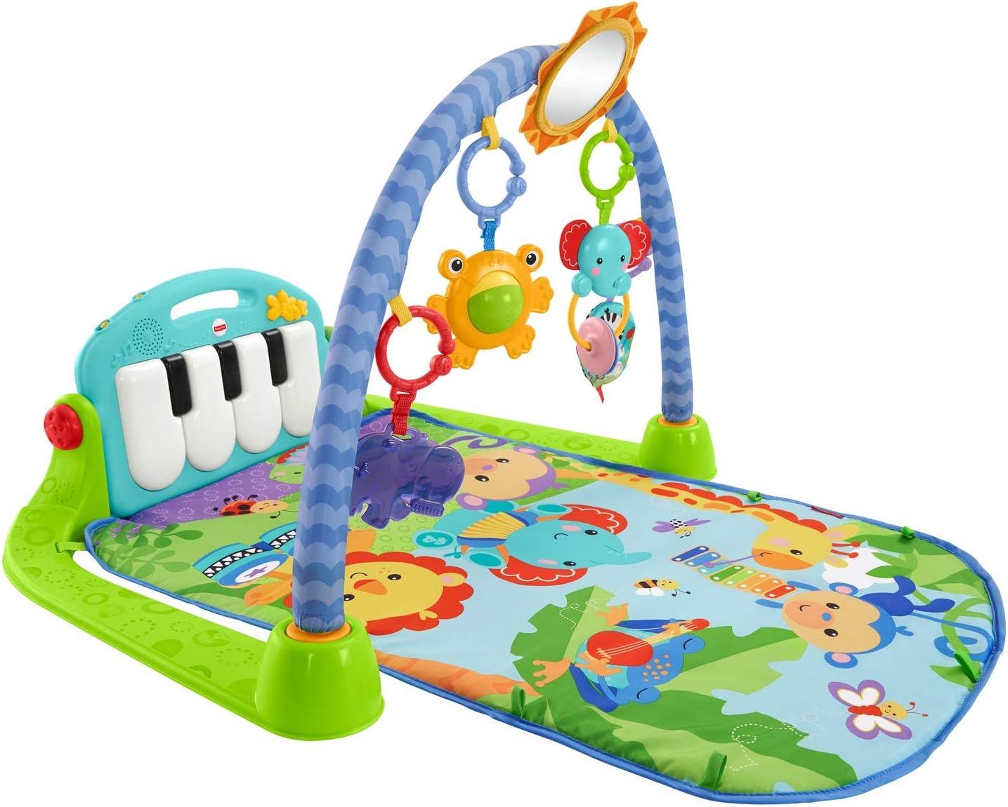 Fisher-Price rey leon Gimnasio piano pataditas, manta de juego para bebé, color verde (Mattel BMH49)