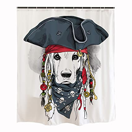 Ofat Home Cute Pirate Captain Dog Shower Curtain Hooks 71x71 Labrador