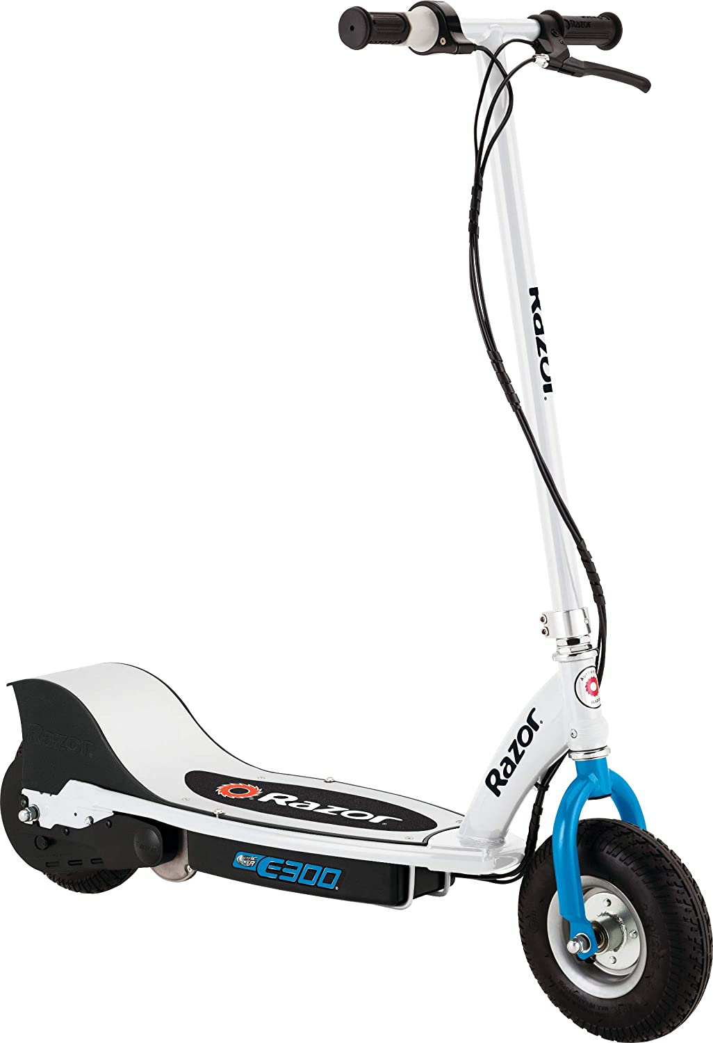 Razor E300 Electric Scooter 9 Air Filled Tires Up To 15 Mph And 10 Miles Range White Blue Sports Outdoors