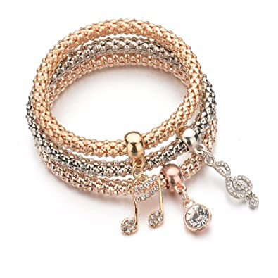 bb908ae3dc Shining Diva Fashion Jewellery Gold Crystal Charm Bracelets for Girls