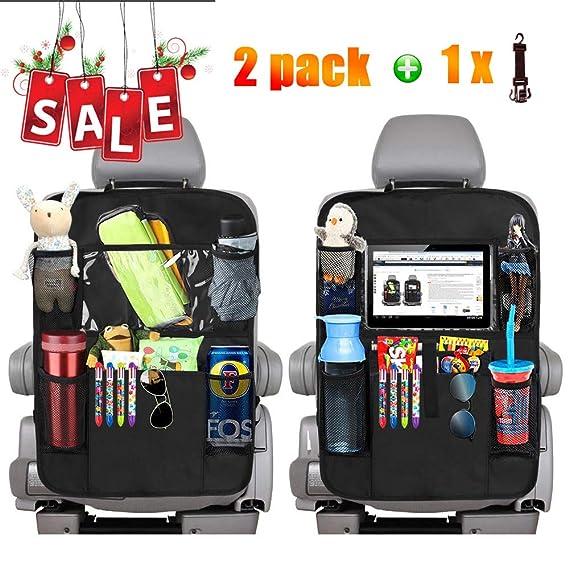 Kipida Car Back Seat Organiser 2 Pack Kick Mats Car Organisers Seat Back Protec