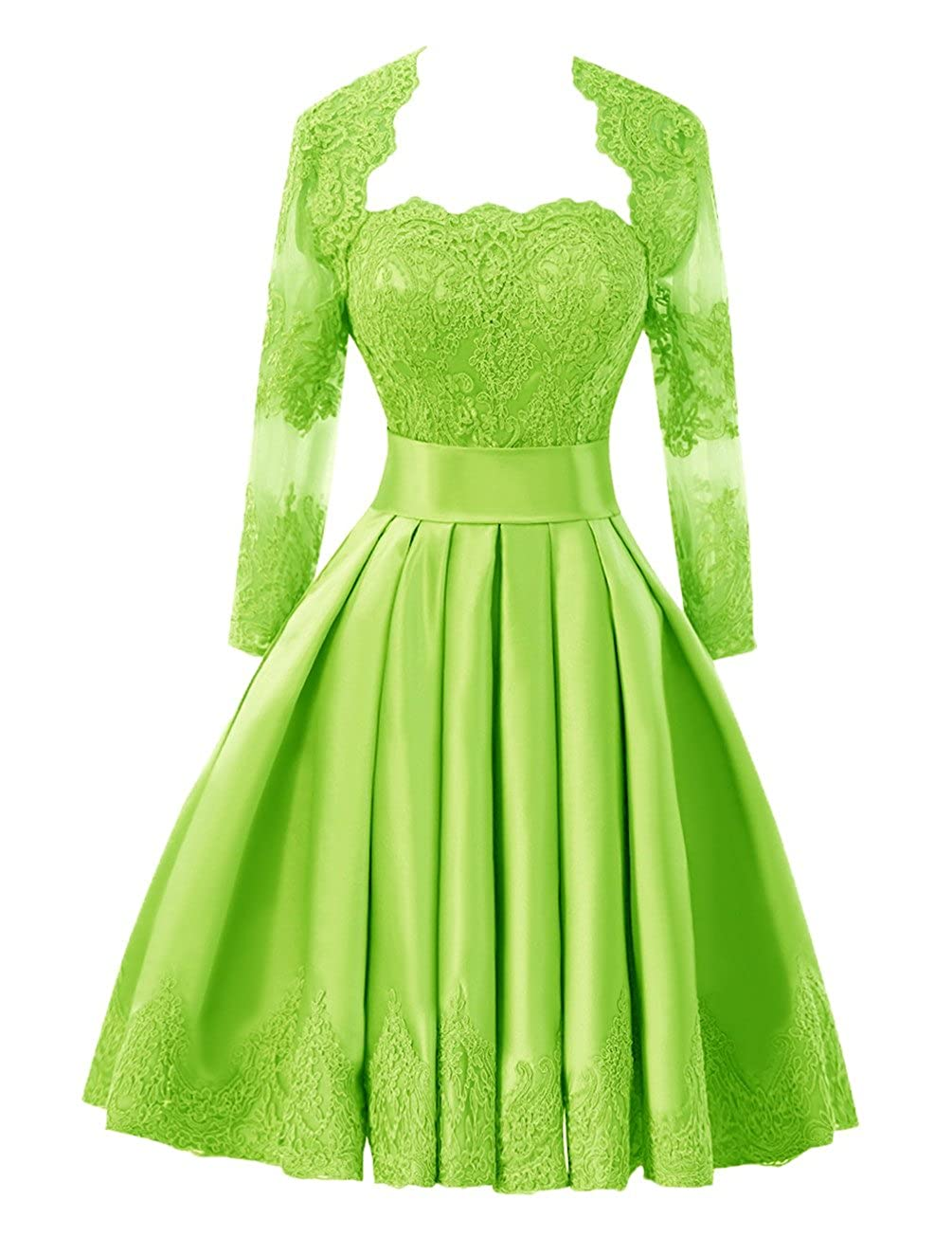 Lime Green Bess Bridal Women's Lace Short Prom Homecoming Dresses with Long Sleeve Jacket