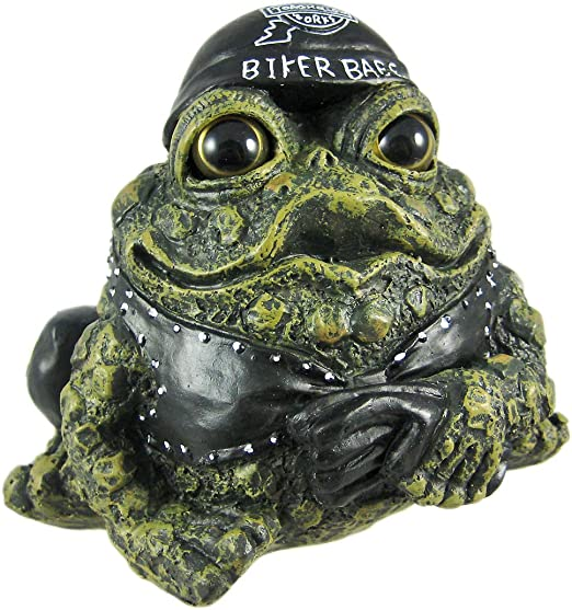 Charming Biker Frogs On Custom Motorcycle Garden Statue