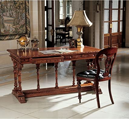 XoticBrands French Hand Carved Solid Mahogany Antique Replica Chateau  Executive Desk Table - Amazon.com: XoticBrands French Hand Carved Solid Mahogany Antique