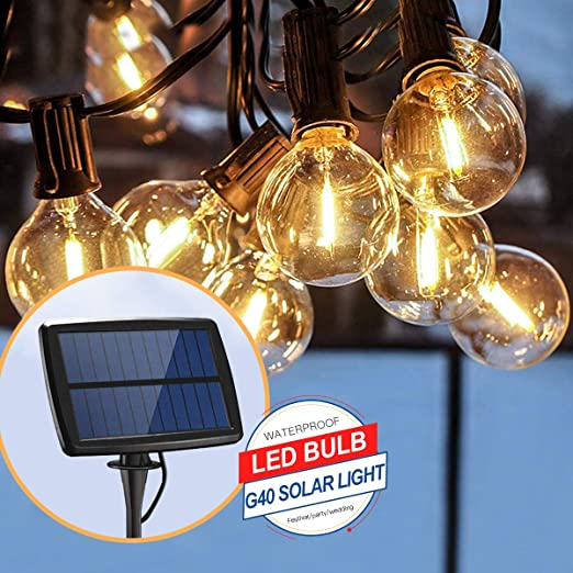 Guirnalda de luces LED solares, 18 pies, 12 bombillas LED impermeables, G40, cadena de luces, 4 modos para fiestas, patio, jardín, boda, decoración de Navidad: Amazon.es: Iluminación
