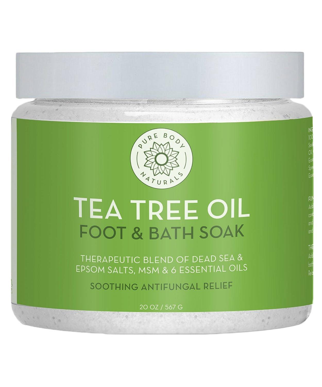 Foot Soak with Tea Tree Oil and Epsom Salt - 20 oz - Tea Tree Essential Oils Foot Bath Fights Fungus & Bacteria, Soothes Aches & Pains & Helps Soften Corns & Calluses Pure Body Naturals Tea Tree Oil Foot Soak