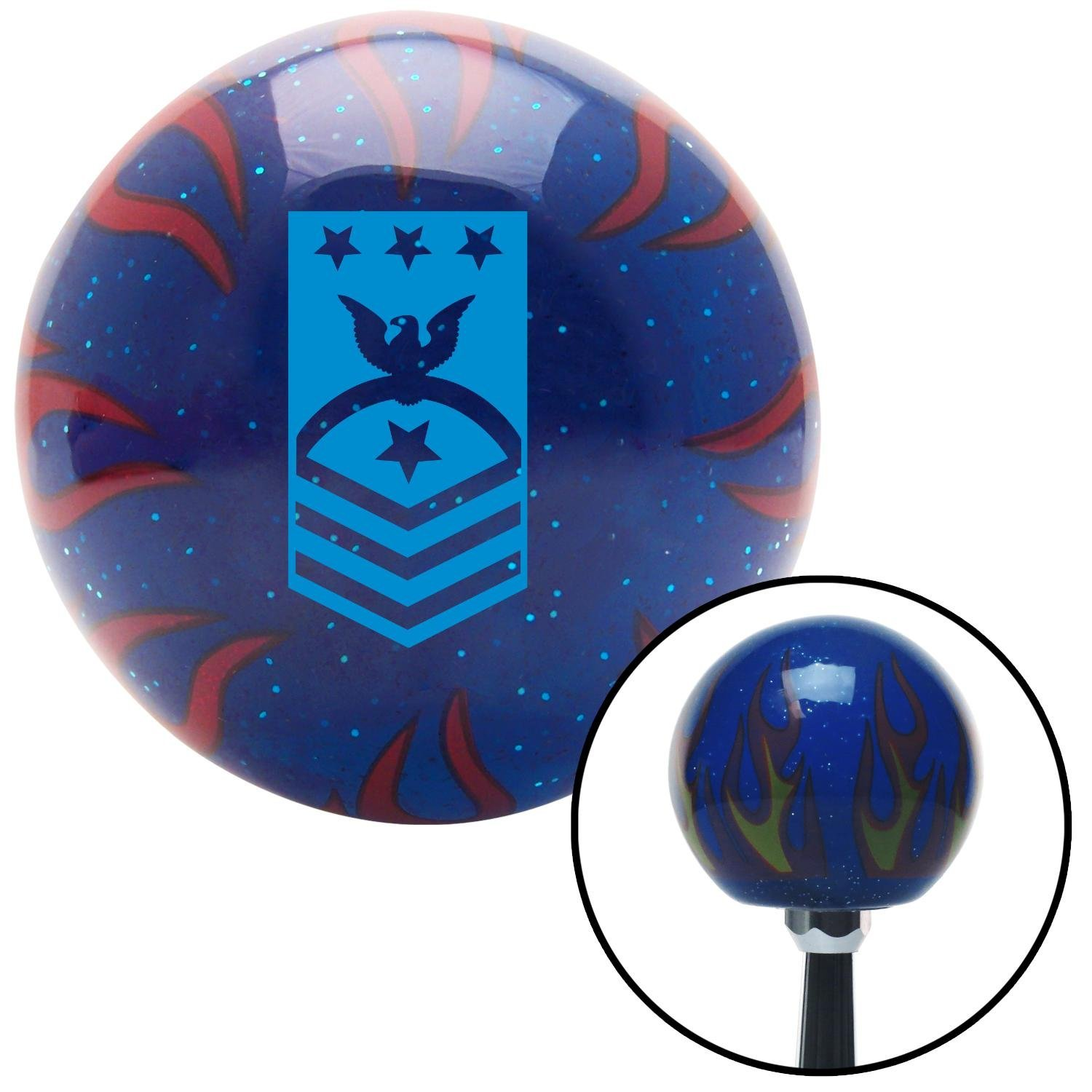 Blue Master Chief Petty Officer of The Coast Guard American Shifter 249764 Blue Flame Metal Flake Shift Knob with M16 x 1.5 Insert