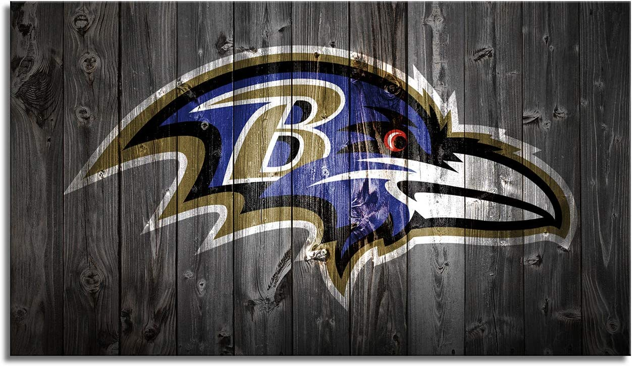 Baltimore Ravens Decor Wall Art Canvas Prints Framed Pictures Sports Football Poster Home Decoration Living Room Bedroom Game Room Paintings Ready to Hang(28''Wx16''H)