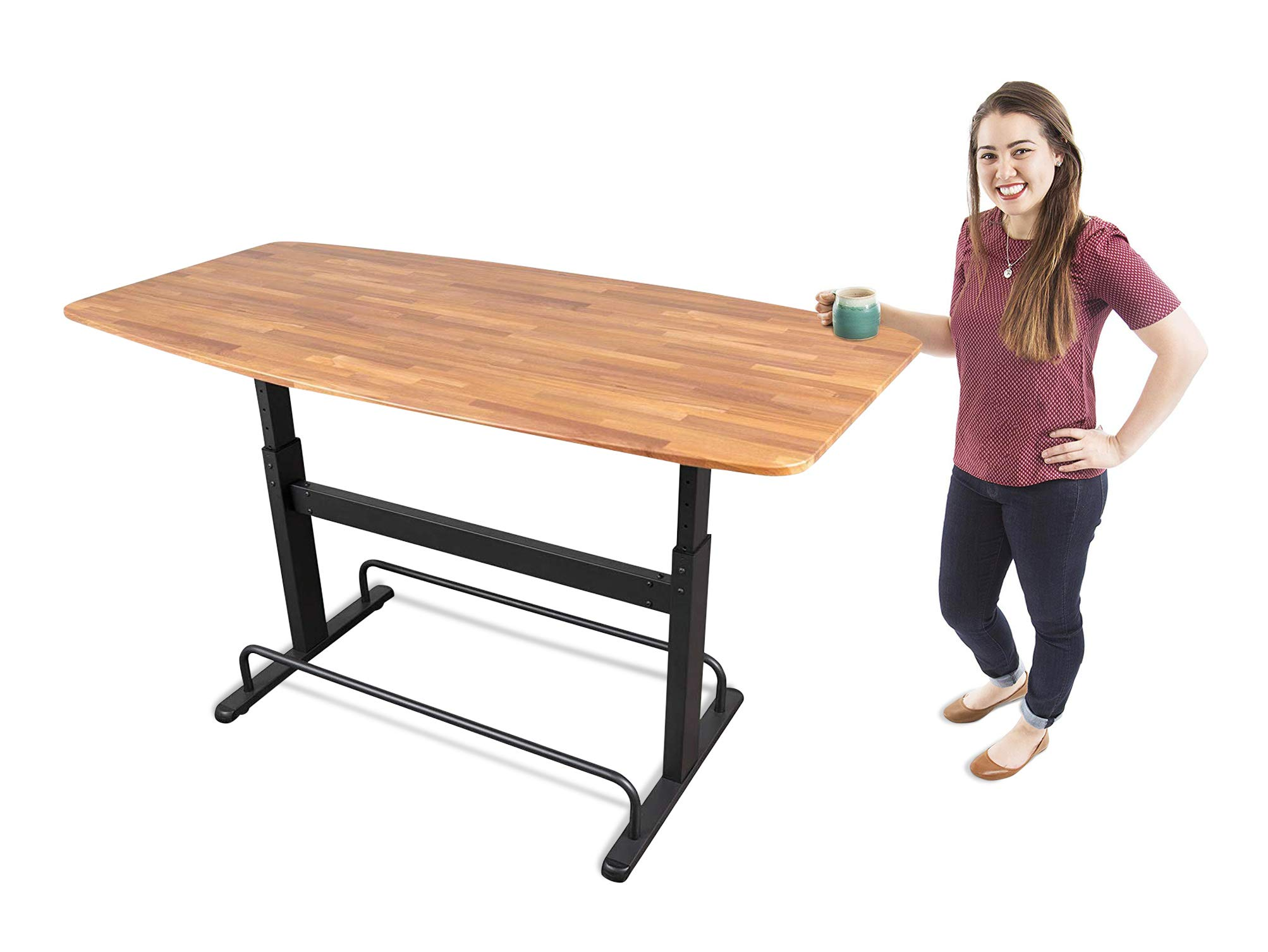 Stand Steady 72'' Standing Height Conference Table w/Adjustable Legs | Sit or Stand Up Collaboration Desk | Perfect as a Boardroom or Meeting Room Table, Standing Desk and More! (Butcher Block Top)