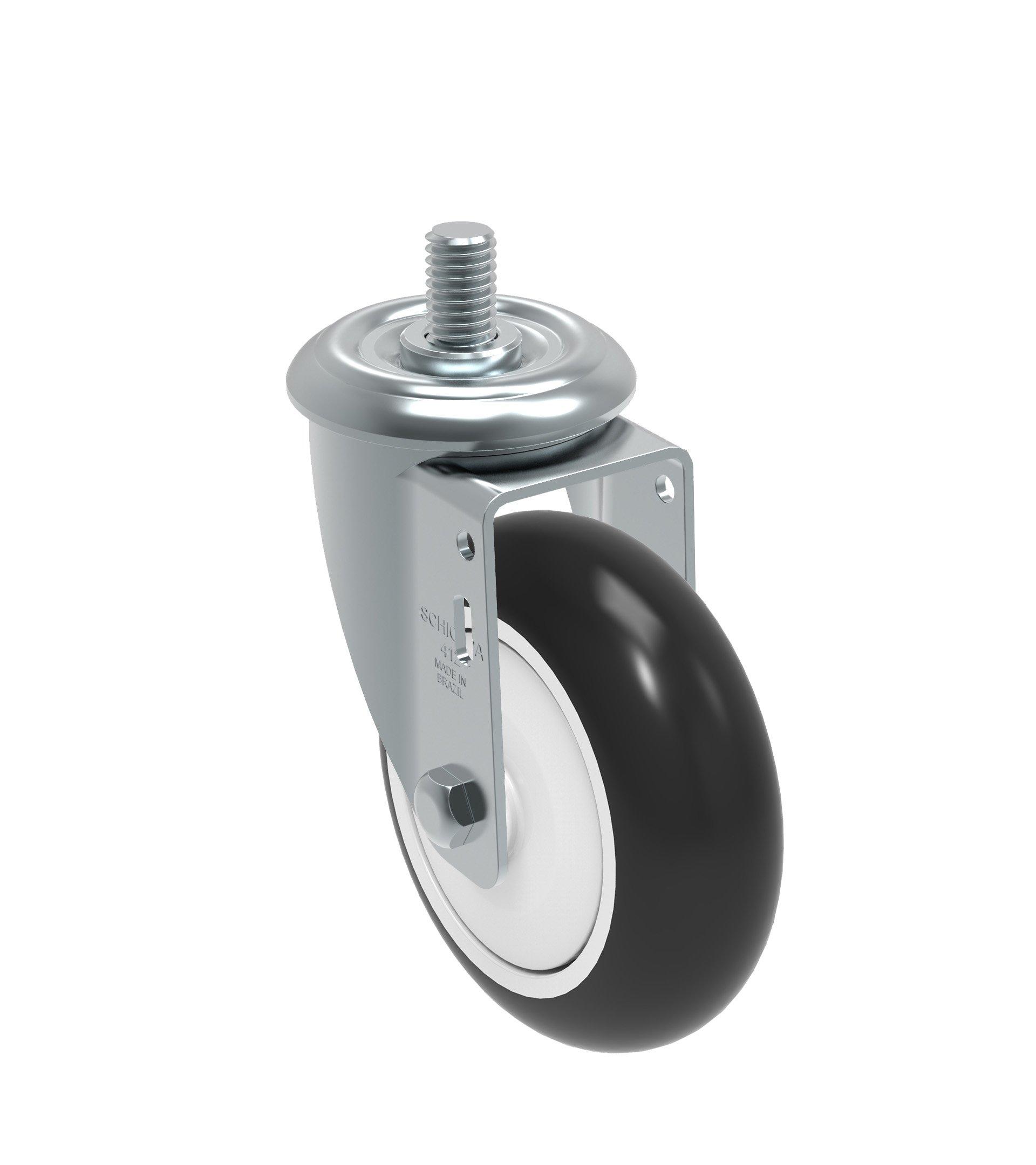 Schioppa GLEHD 412 NPE L12 Series 4'' x 1-1/4'' Diameter Swivel Caster, Non-Marking Polypropylene Precision Ball Bearing Wheel, 12 mm Diameter x 25 mm Length Threaded Stem, 275 lb