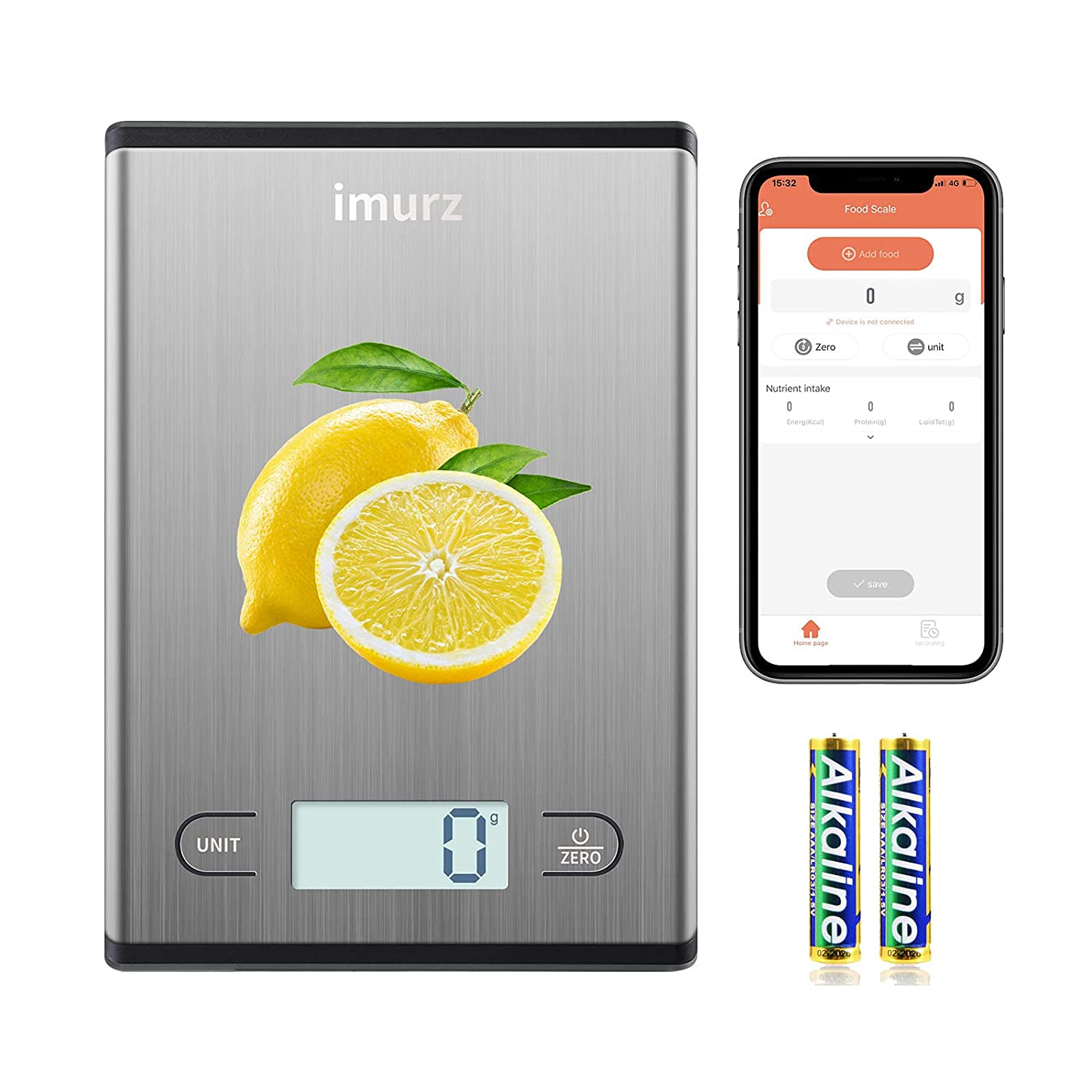 Kitchen Food Scale with Smart Nutritional Data&Calculator, Kitchen Digital Scale Weight Grams and Oz for Weight Loss,Calorie Counter,Baking,Cooking and Meal Prep(Includes Batteries&App)