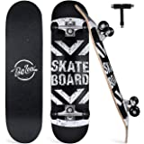 "BELEEV Skateboards for Beginners, 31""x8"" Complete Skateboard for Kids Teens & Adults, 7 Layer Canadian Maple Double Kick…"