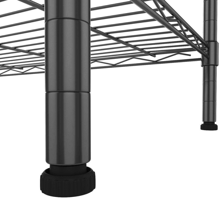 BATHWA Rollregal Standregal Regal aus Verchromten Metall mit 5 Regalb/öden und 4 Rollen 74x34x155cm Silber