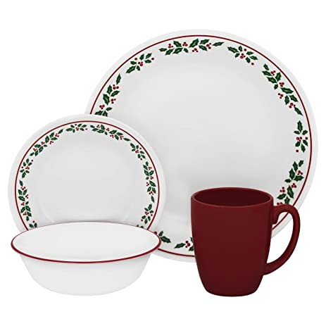 Corelle Livingware Winter Holly 16-pc Dinnerware Set  sc 1 st  Amazon.com : winter dinnerware sets - Pezcame.Com