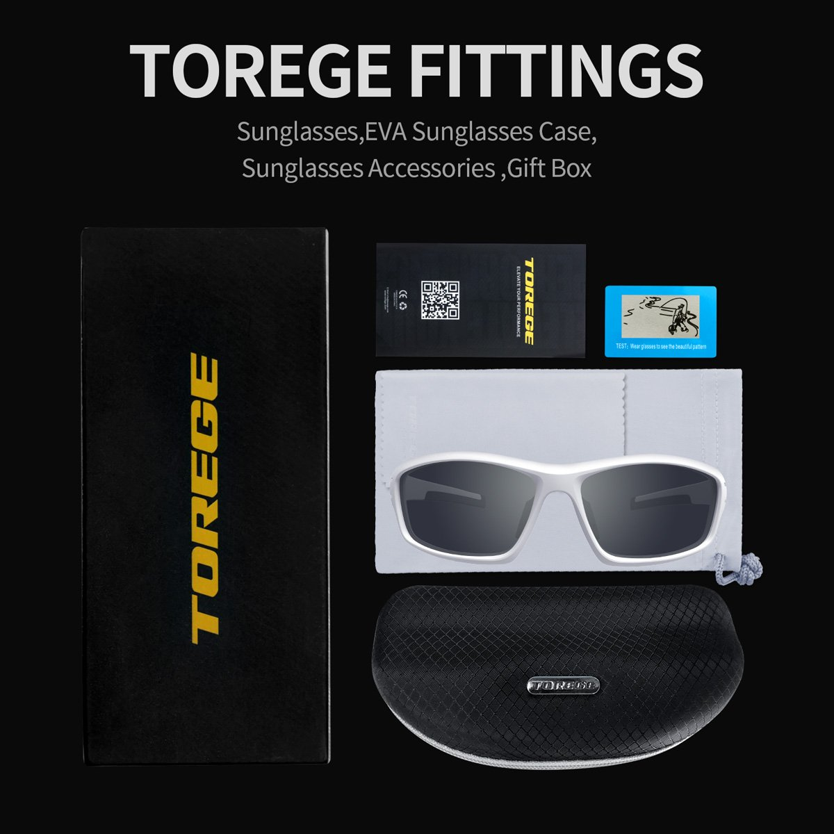 c075605a10 TOREGE Polarized Sports Sunglasses for Man Women Cycling Running Fishing  Golf TR90 Unbreakable Frame TR034 (White Black Tips Gray Lens) - TR-034-C3  ...
